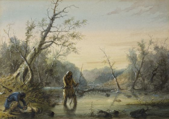 Miller, Alfred Jacob: Trapping Beaver. Fine Art Print/Poster. Sizes: A4/A3/A2/A1 (003841)